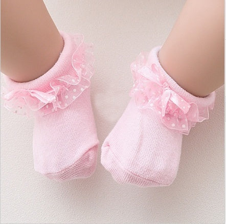 New 0-12month Newborn Toddler Baby Socks Lace Bow Kids Baby Socks