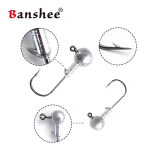Banshee Lead Round Ball Head Jigs 1g - 20g Lead Head Hook Jigs Bait Fishing Hooks for Soft Lure Fishing Tackle 5pcs/lot