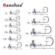 Load image into Gallery viewer, Banshee Lead Round Ball Head Jigs 1g - 20g Lead Head Hook Jigs Bait Fishing Hooks for Soft Lure Fishing Tackle 5pcs/lot