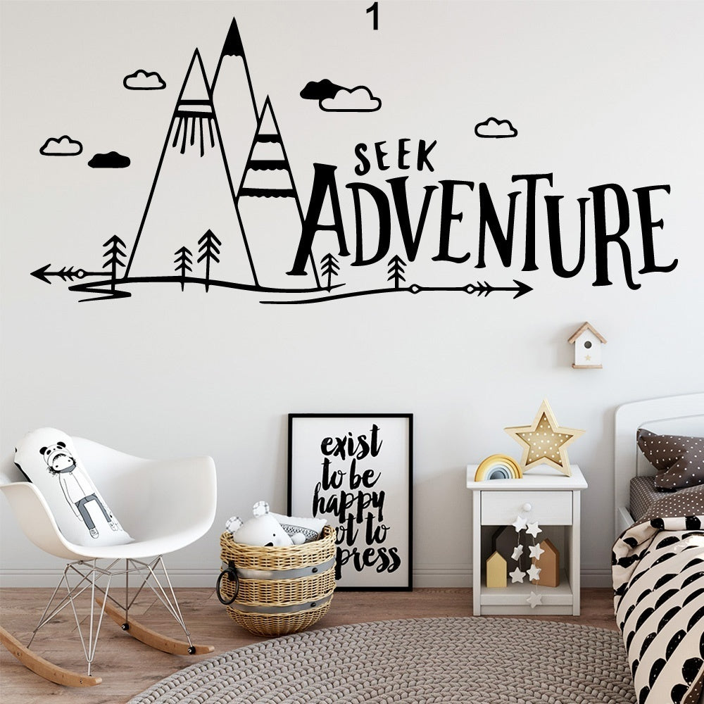 Cute tribe mountain cloud adventure arrow Vinyl Wall Sticker Wallpaper Decorative For Kids Room Bedroom Decoration Decals Mural