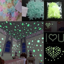 Load image into Gallery viewer, 100pcs Wall Stickers Glow In The Dark Baby Kids Bedroom Home Decor Color Stars Luminous Fluorescent Wall Stickers Decal