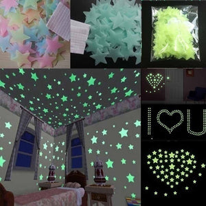 100pcs Wall Stickers Glow In The Dark Baby Kids Bedroom Home Decor Color Stars Luminous Fluorescent Wall Stickers Decal