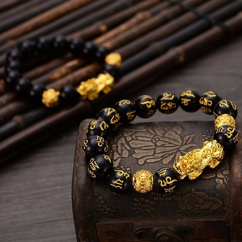 Feng Shui Black Bead Alloy Wealth Bracelet with Golden Pixiu Charms Jewelry