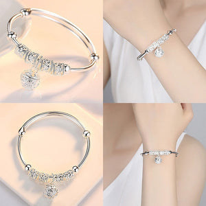 2019 Fashion Silver 925 Sterling Silver Charm Bangle Cuff Bracelet Bell Artificial Stone Ball Pendants Women Jewelry Gift