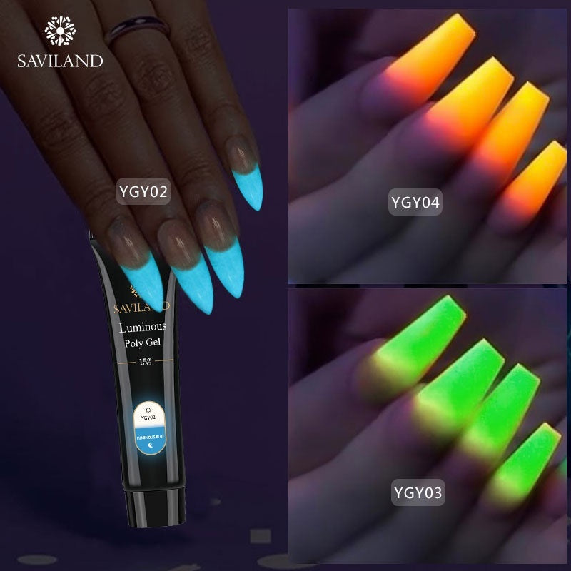Saviland 15g Glow In Dark Gel Polygel Luminous Nail Extension UV Nail Gel Hard Builder Gel Nail Art Gel Polish 6 Colors Optional