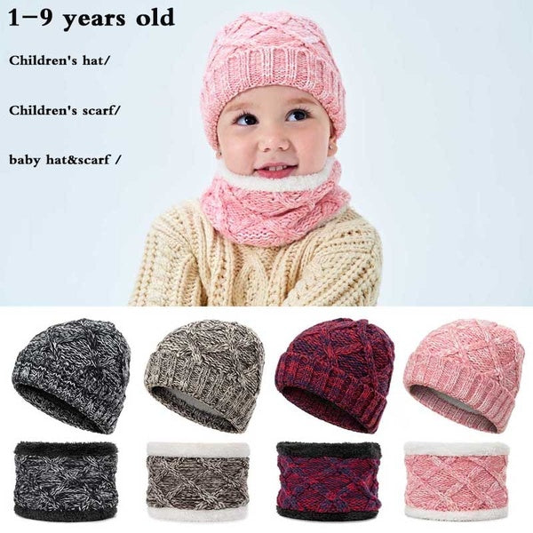 Cute Children Kids Winter Hat Scarf Boys Girls Winter Warm Hat Wool Knitted Cap Scarf Set