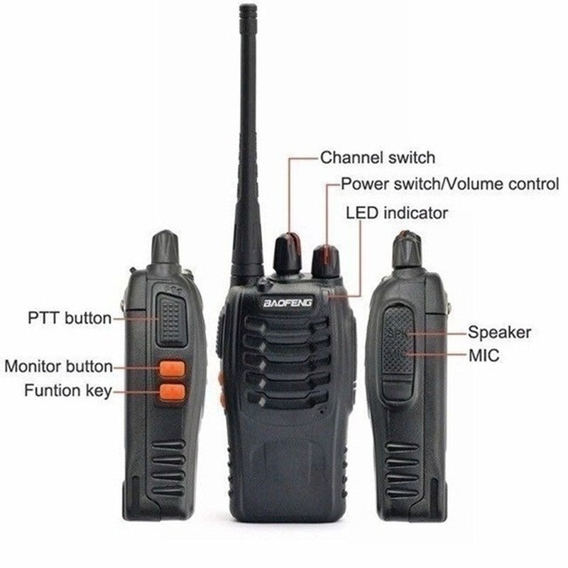 2PCS/1PCS 5KM Range Wireless Walkie-Talkie Talkie UHF 400-470MHz 5W Handheld Two-way Ham Radio(Desk Charge+BF888)
