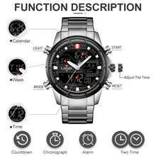 Load image into Gallery viewer, NAVIFORCE Men Quartz LED Digital Clock Male Blue Full Steel Military Wrist Watch Fashion Casual Men Waterproof Watches