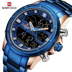 NAVIFORCE Men Quartz LED Digital Clock Male Blue Full Steel Military Wrist Watch Fashion Casual Men Waterproof Watches