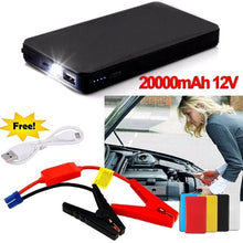 Load image into Gallery viewer, 20000mAh Car Jump Starter Pack Booster Battery Charger USB Power Bank Mini 12V @Outdoor Car Mobile Power Supply Automobile Emergency Battery Flashlight Car