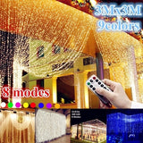 9 Colors 3Mx3M 300 LED Light Strings Romantic Fairy Christmas Lights Wedding Party Outdoor Decoration Curtain String Light