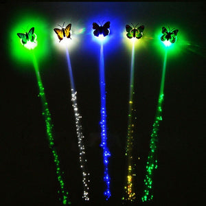 Colorful LED Flashing Hair Braid Butterfly Hairpin LED Butterfly Luminous Hair Clip Party Night Glow Party Valentine's Day Holiday Decor