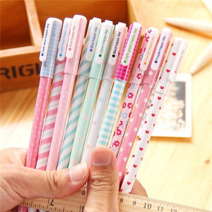 1 Set 10pcs Gel Pen Colourful 0.38mm Roller ball Gel Pens Fine Point  Cute Cartoon Colorful Gel Pen Set Creative Gift (Color: Multicolor)