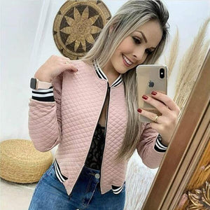 2020 Autumn Fashion Women Solid Color Outwear Casual Zipper Up Short Pocket Bomber Jacket Coats