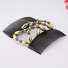 Load image into Gallery viewer, 1 Pcs Ladies Women Elastic Hairpin Stretch Double Magic Hair Comb Handmade Beaded Hair Clip Bun Maker DIY Styling Tool 3 Colors GNJ
