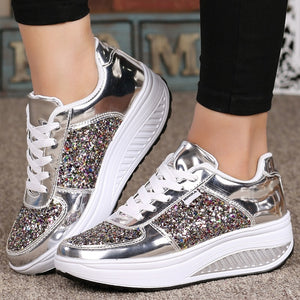 Womens Platform Shoes Casual Shoes Glitter Upper Sneakers Walking Fitness Shoes