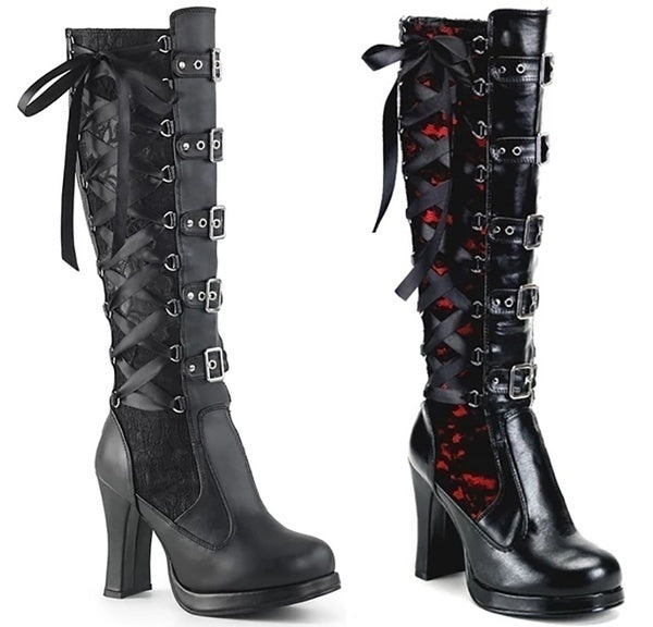 Medieval Steampunk Women Gothic Lolita Knee High Boots Punk Style High Heel Leather Boots Cute Zipper Buckle Lace Up Bandage Boots Autumn Winter Black Platform Tall Boots Stivali Donna Botas