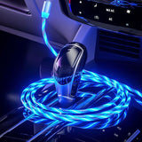 1/2M Magnet LED Fluid Fast Charging Car Charger Cable Magic Glow In Dark Micro USB Type-C Lightning For IPhone XsMax Samsung S10 Hauwei Xiaomi ...
