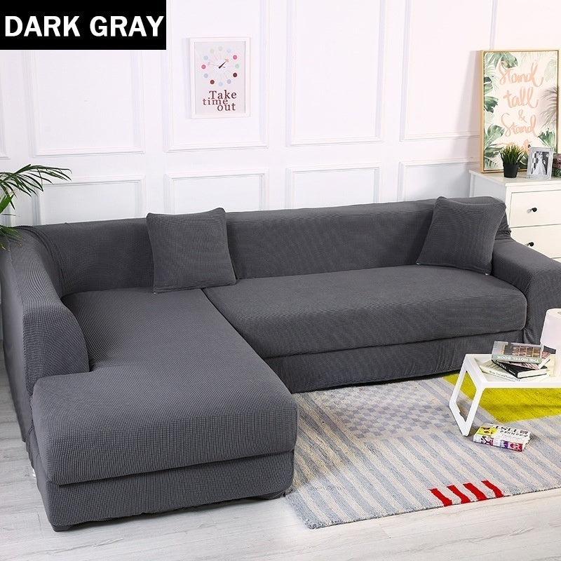 1/2/3/4 Seater Solid Color Polyester Sofa Cover Living Room Universal Stretch Elastic L Shaped Couch Cover Indoor Furniture Decor