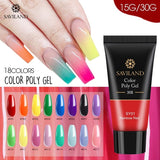 Saviland 15g/30g Poly Gel Nail Extension Red Blue Yellow Polygel Nail Gel Camouflage UV Hard Gel Polish Fast Builder Gel