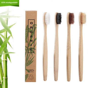 50pcs Natural Bamboo Toothbrush Eco-Friendly Oral Care Soft Bristles Tooth Brushes