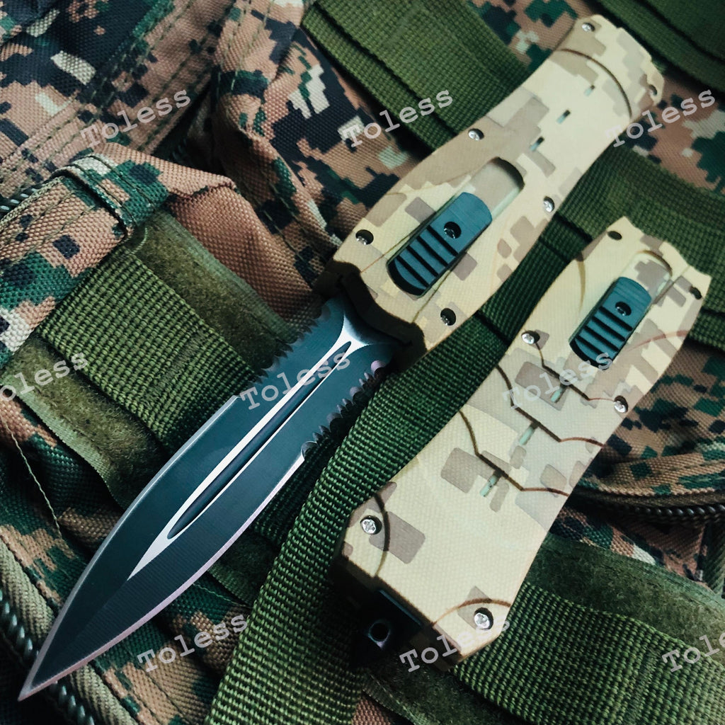 NEW HOT-8.8 Inches Pocket Tactical Equiment AUTOMATIC OTF Spring Assisted Fast Open Blade wilderness Survival EDC Tools Out The Front Blade Double Action Edged for Outdoor Hunting Fishing Camping Gear