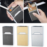 Business Men Cigarette Box With Cigarette Lighter Windproof USB Smoking Portable Cigarettes Case