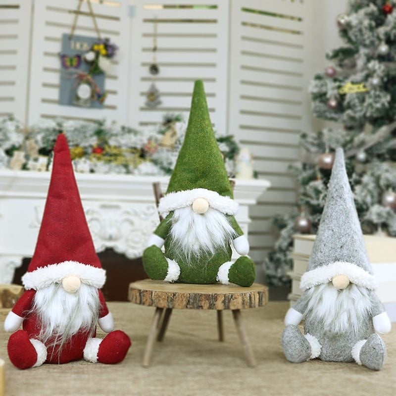 Merry Christmas Long Hat Swedish Santa Gnome Plush Doll Ornaments Handmade Elf Toy Holiday Home Party Decor JEF