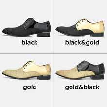 Load image into Gallery viewer, New Men Party Shoes Casual Leather Shoes Pointed Toe Shoes Dance Shoes Sequin Night Club Shoes Patent Leather Lace Up Shoes (size:39-48) 8 Colors