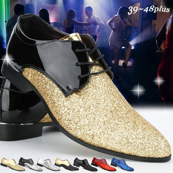 New Men Party Shoes Casual Leather Shoes Pointed Toe Shoes Dance Shoes Sequin Night Club Shoes Patent Leather Lace Up Shoes (size:39-48) 8 Colors