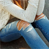 Women's Fashion Casual Denim Pencil Pants Ripped Jeans