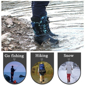 Mens Fashion Waterproof Hiking Boots Outdoor Fishing Boots Removable Velvet Warm Boots Plus Size