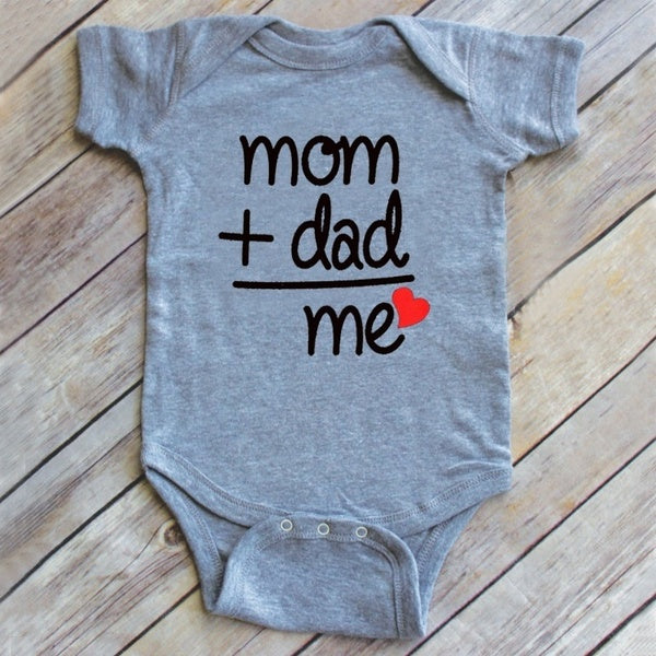 Mom Plus Dad Equals Me Cute Bodysuit Baby Shower Gift Baby Clothes