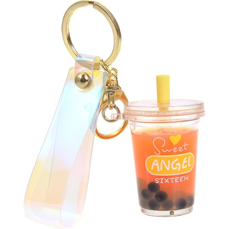 Milk tea cup pendant keychain personality fashion creative funny soft drink keychain resin interesting cassava tea drink mobile tea liquid oil release jewelry key chain gift