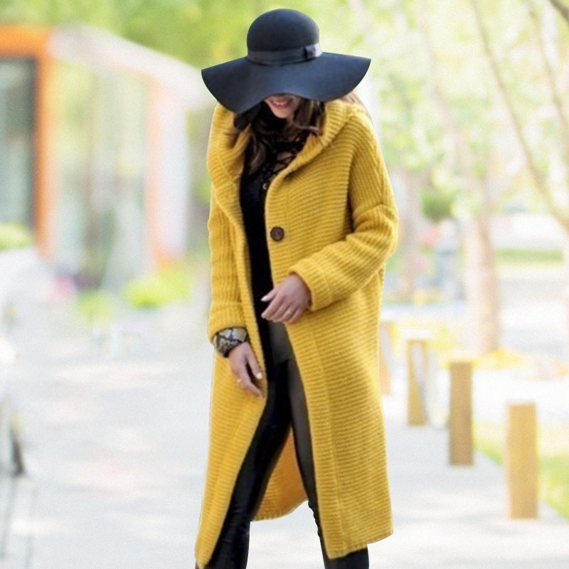 Women's Autumn Winter Solid Color Long Jacket Coat Lady Knitted Hooded Coat Cashmere Cardigan Sweater Coat Outwear Plus Size