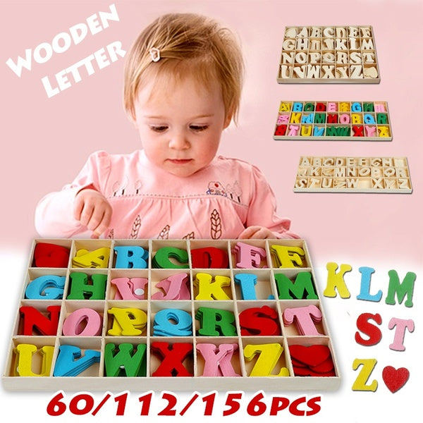 Wooden Alphabet Toy English Letters Number Scrabble Jigsaw Puzzles For Children Kids Educational Craft Home Decor 60/112/156pcs per Set
