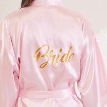 Load image into Gallery viewer, Bride Party Wedding Robe Gold Letters Bride Bridesmaid Robe Wedding Makeup Silk Nightgown - M