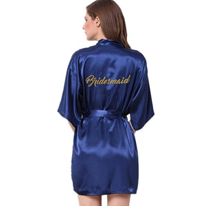 Bride Party Wedding Robe Gold Letters Bride Bridesmaid Robe Wedding Makeup Silk Nightgown - M