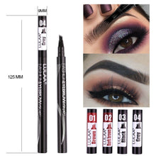 Load image into Gallery viewer, Waterproof Natural Eyebrow Pen Four-claw Eye Brow Tint Makeup Four Colors Eyebrow Pencil Brown Black Grey Brush Cosmetics