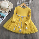 2-8 Years Autumn Winter Yellow Long Sleeve Stars Autumn Knitted Dress for Girls Princess Birthday Holiday Outdoor Christmas Casual Wear