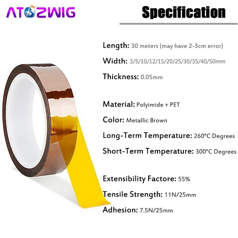 3/5/10/12/15/20/25/30/40/50mm Width High Temperature Heat Kapton Tape Polyimide Insulation Adhesive