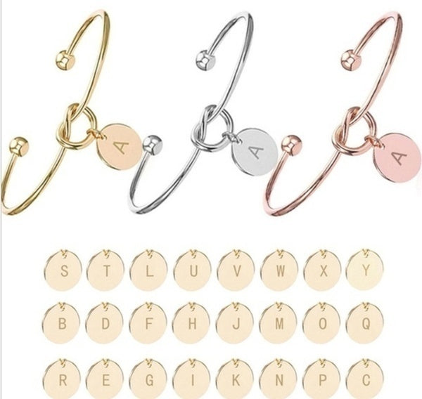 European and American fashion Knot Bracelet with letters personalized initial heart bracelet Monogram Bridesmaid Gift Bracelet