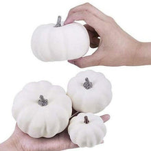 Load image into Gallery viewer, 12Pcs 6 Big 6 Small Halloween Artificial White Pumpkins for Halloween Decor Painting Props