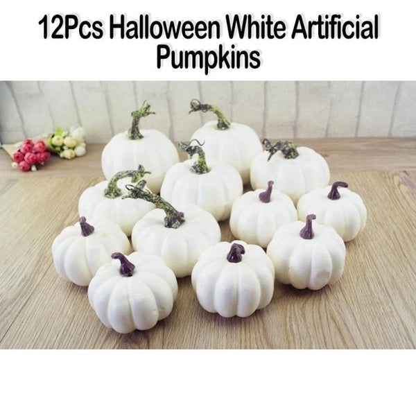 12Pcs 6 Big 6 Small Halloween Artificial White Pumpkins for Halloween Decor Painting Props