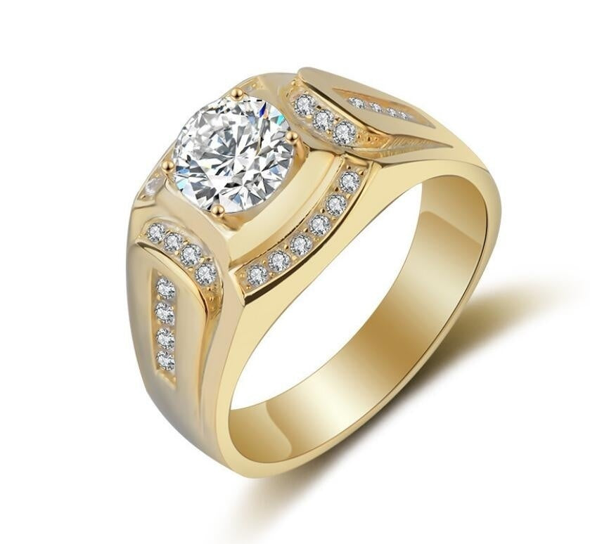 Men 14K Yellow Gold Over 2.0 CT Round Cut Diamond Pinky Ring Anniversary Gift Engagement Bridal Wedding Rings Jewelry Size 7-13