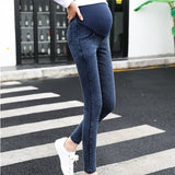 XS-3XL Pregnant Women Tight Pants Jeans Pants Stretch Pregnant Women Small Feet Belly Lacing Pants Stretch Lift Jeans