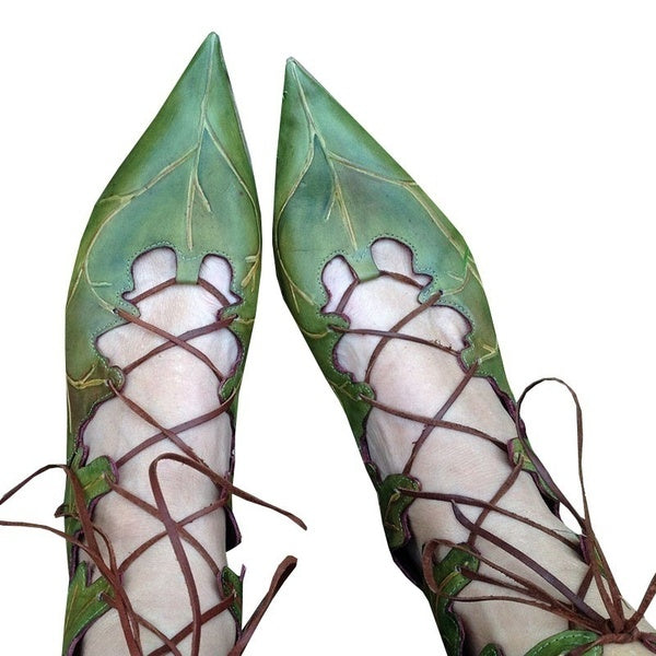 New Fashion Women Summer Tie Pointed Toe Shoes Chic Character Leaves Lace Up Flat Shoes