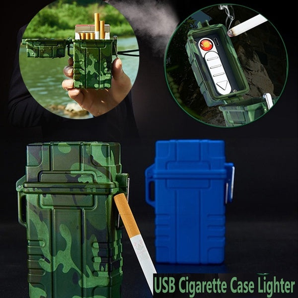 Outdoor Waterproof USB Electronic Cigarette Case With Lighter 20pcs Capacity Cigarette Holder Portable Cigarette Box Gadgets For Men Women Gift