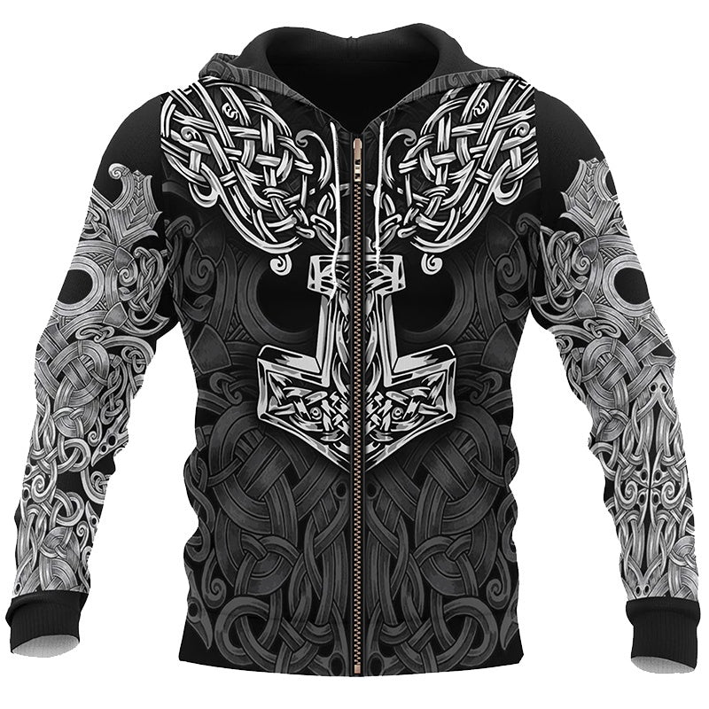 2019 Winter Thick New Men Viking 3D Printing Zip-up Pullover Hoodies