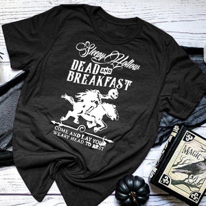 Sleepy Hollow Bed and Breakfast Graphic Shirt Halloween Womens Shirts Fashion Casual Short Sleeve Cotton T-Shirts